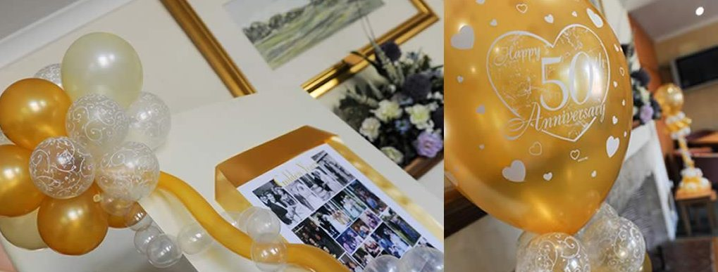 Golden wedding anniversary party decoration