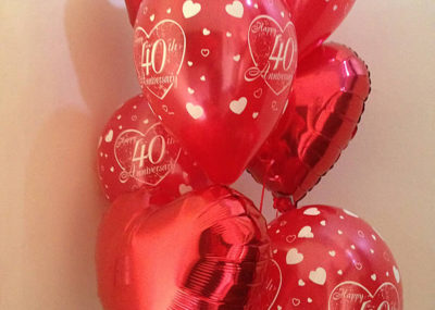ruby wedding balloon bouquet with red foil hearts