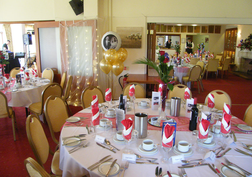 Party decoration for a Golden Wedding Anniversary in Harpenden