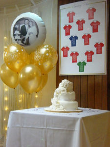 A personalised balloon in a bouquet for a beautiful golden wedding anniversary