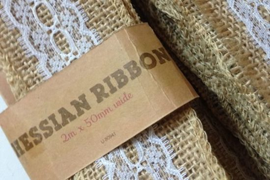 Hessian and lace ribbon for my DIY wedding napkin rings