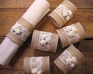 Cute hessian and lace napkin rings for the wedding